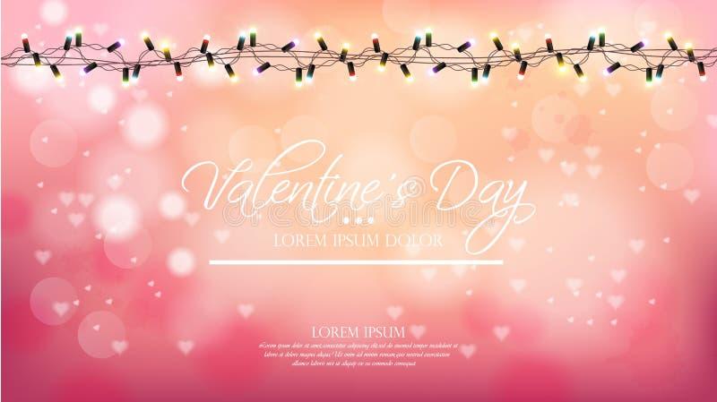 Walentynki różowy tło z światłami Wektorowymi Romantyczny sztandar Zaproszenie broszurka lub karta Pastelowych menchii proszek ilustracji