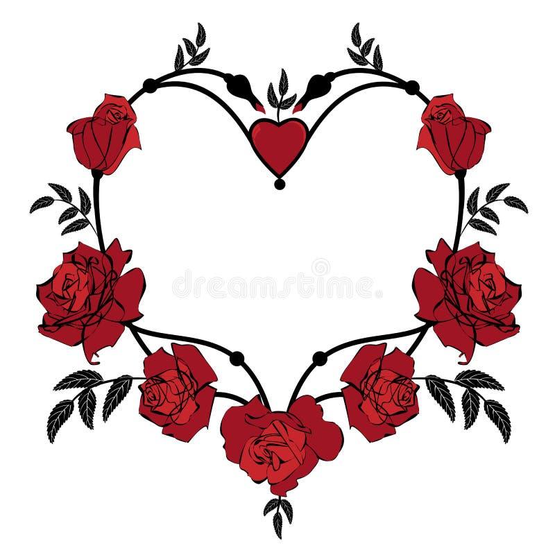Walentynki rama z różami ilustracja wektor