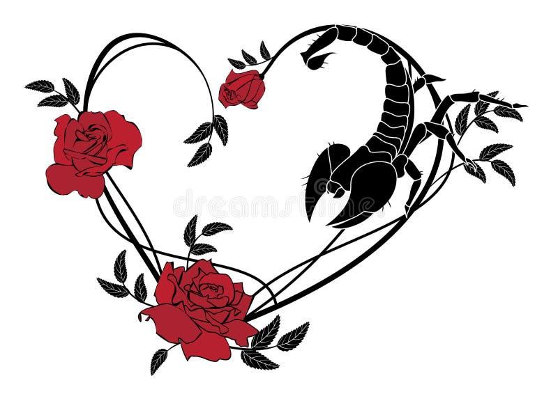 Walentynki rama z różami i skorpionem ilustracji