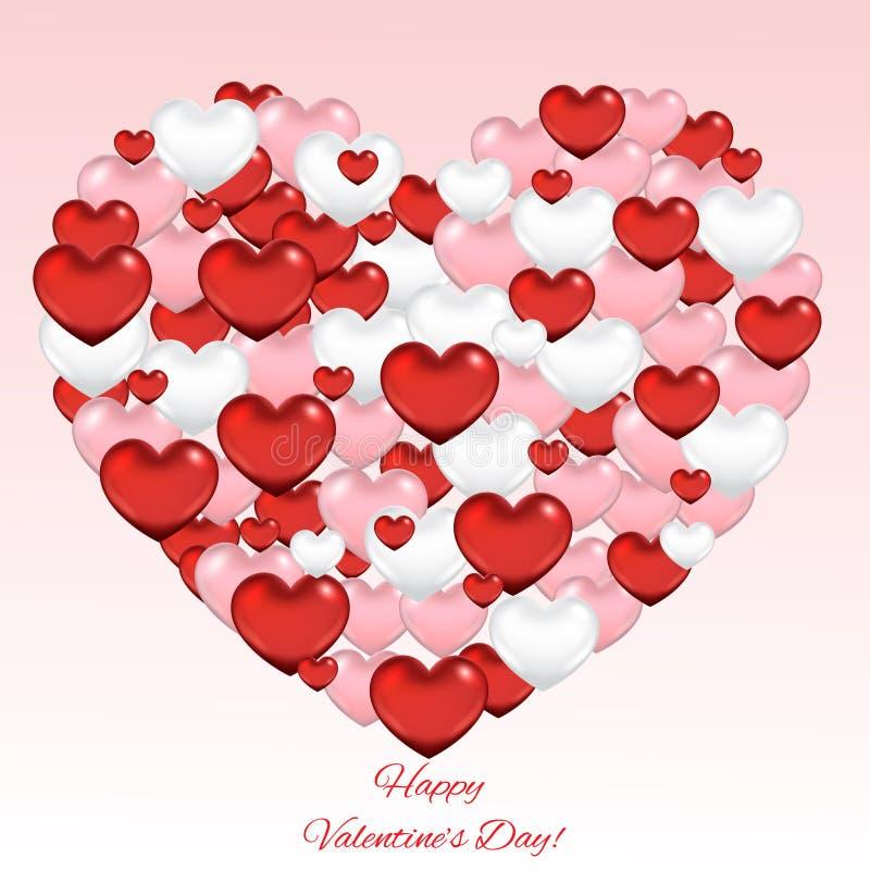Walentynki ` s dnia abstrakcjonistyczny tło z sercami ilustracji