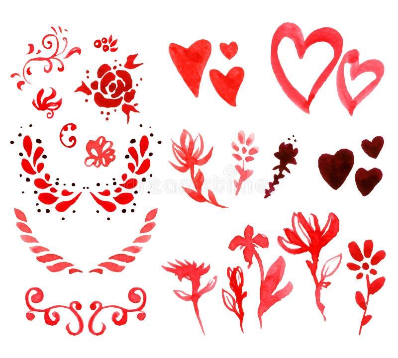 Walentynki ` s dnia akwareli projekta elementy ilustracja wektor