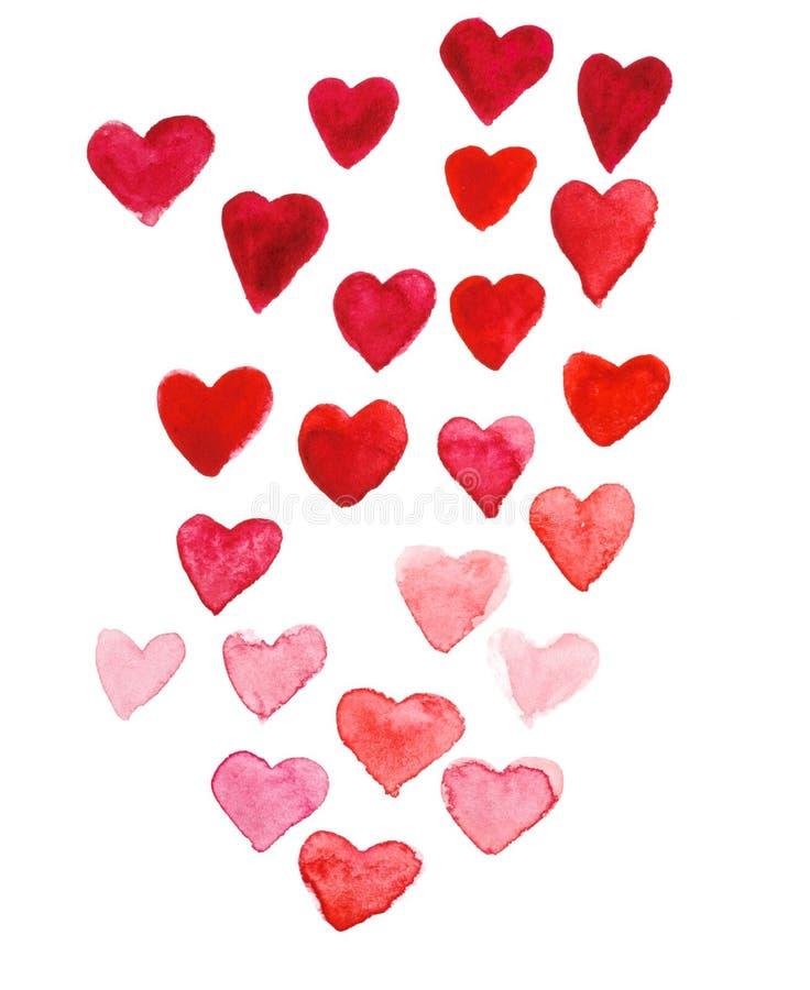 Walentynki ` s dnia akwareli ręki obrazu czerwieni serce zdjęcie stock