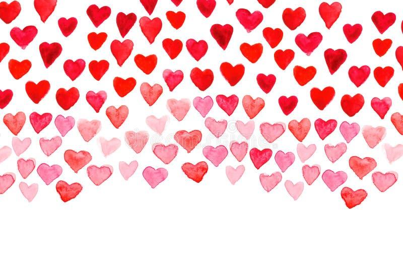 Walentynki ` s dnia akwareli ręki obrazu czerwieni serce obrazy stock