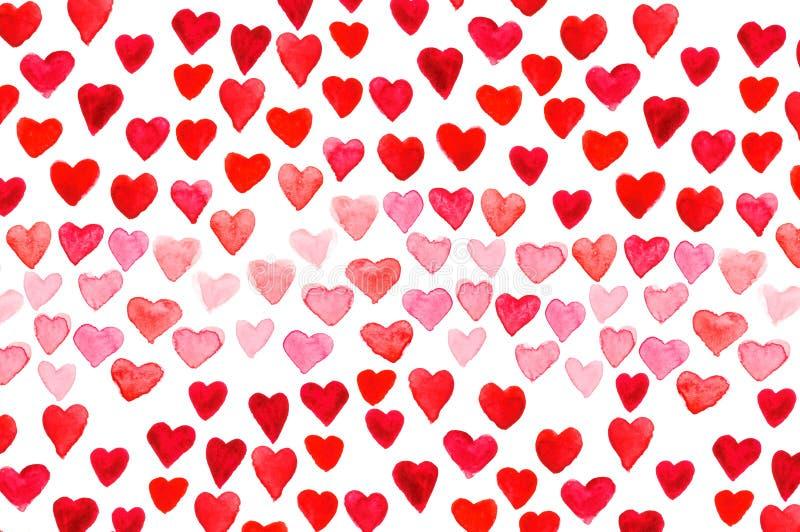 Walentynki ` s dnia akwareli ręki obrazu czerwieni serce fotografia royalty free