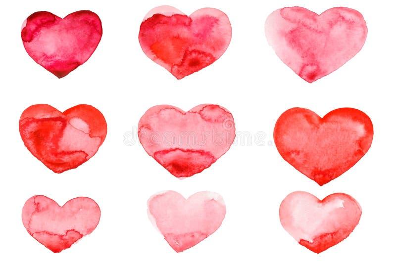 Walentynki ` s dnia akwareli ręki obrazu czerwieni serce fotografia stock