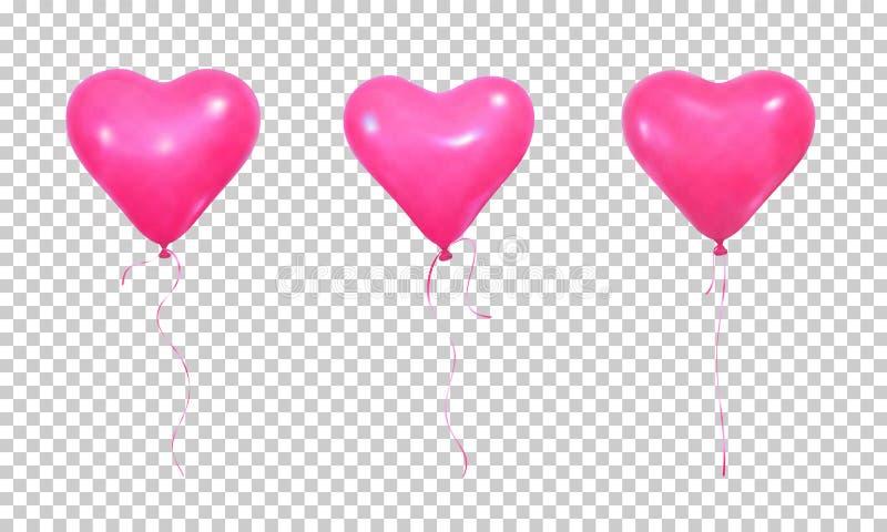 Walentynki ` s dnia balony Set realistyczni różowi helowi balony kierowy kształt i faborki ilustracja wektor