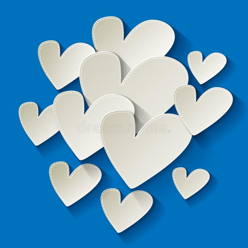 Walentynki ` s dnia białego papieru serce na błękitnym tle royalty ilustracja