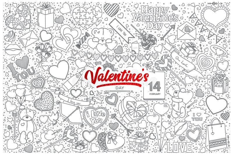 Walentynki ` s dnia doodle ustawia z czerwonym literowaniem ilustracja wektor