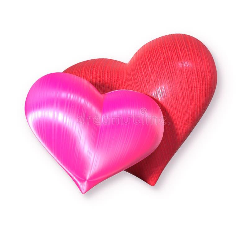 Walentynki ` s dnia dwa serca na białym tle fotografia royalty free