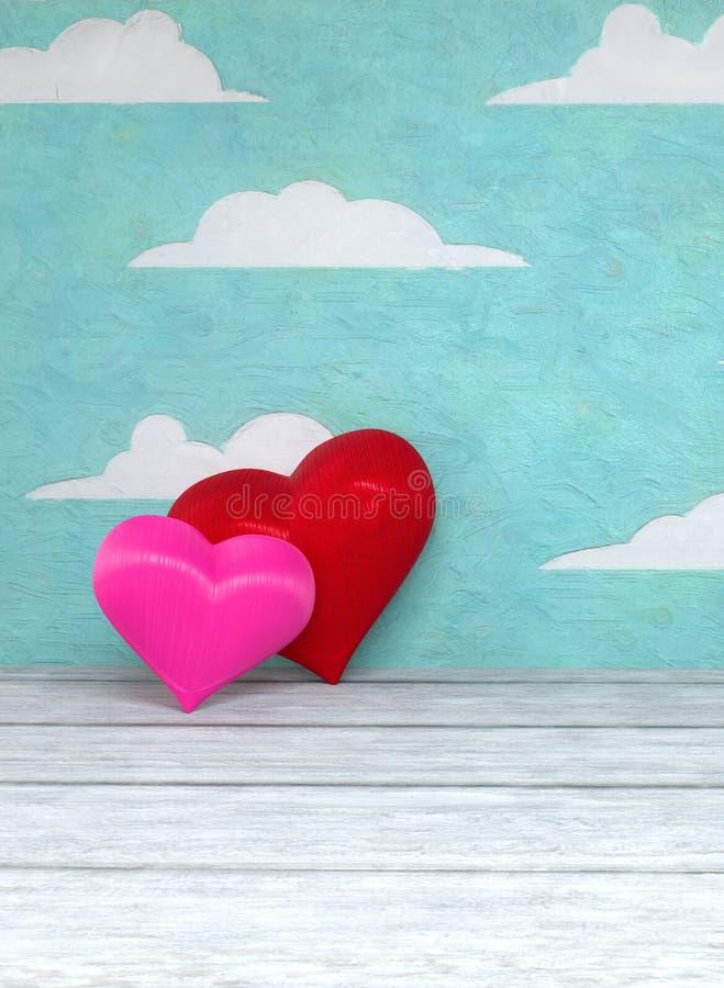 Walentynki ` s dnia dwa serca na malującym nieba tle zdjęcie royalty free