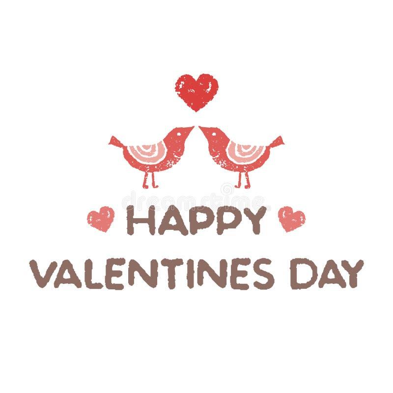 Walentynki ` s dnia elementy, mali ptaki kochają each inny ilustracji