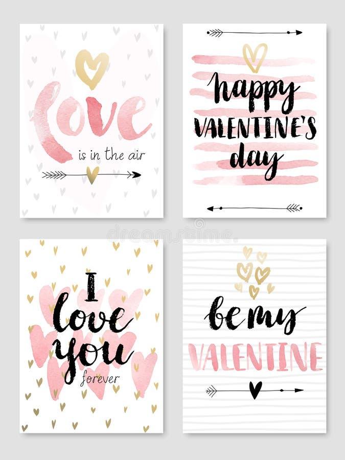 Walentynki ` s dnia Kaligraficzny set royalty ilustracja