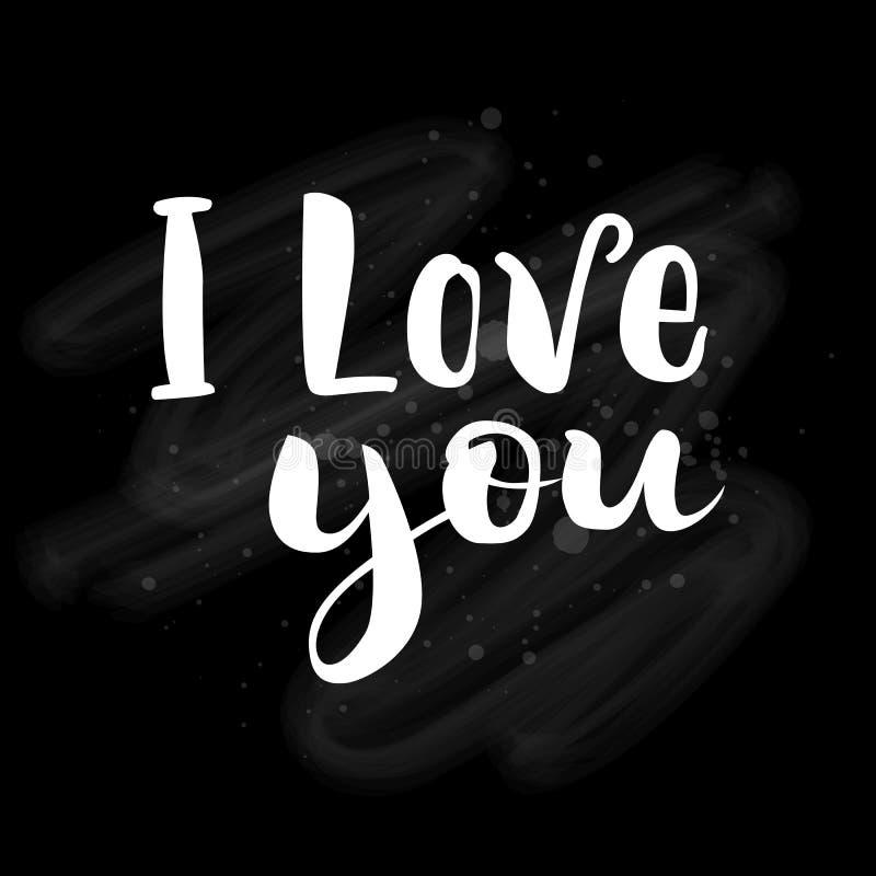 Walentynki ` s dnia karta z literowaniem kocham cię Ręcznie pisany literowanie na chalkboard również zwrócić corel ilustracji wek ilustracja wektor
