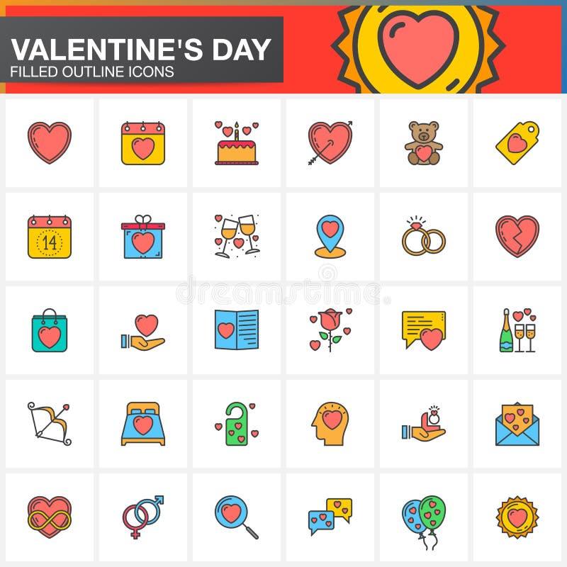 Walentynki ` s dnia linii ikony ustawiają, wypełniająca konturu symbolu wektorowa kolekcja, liniowa kolorowa piktogram paczka odi royalty ilustracja