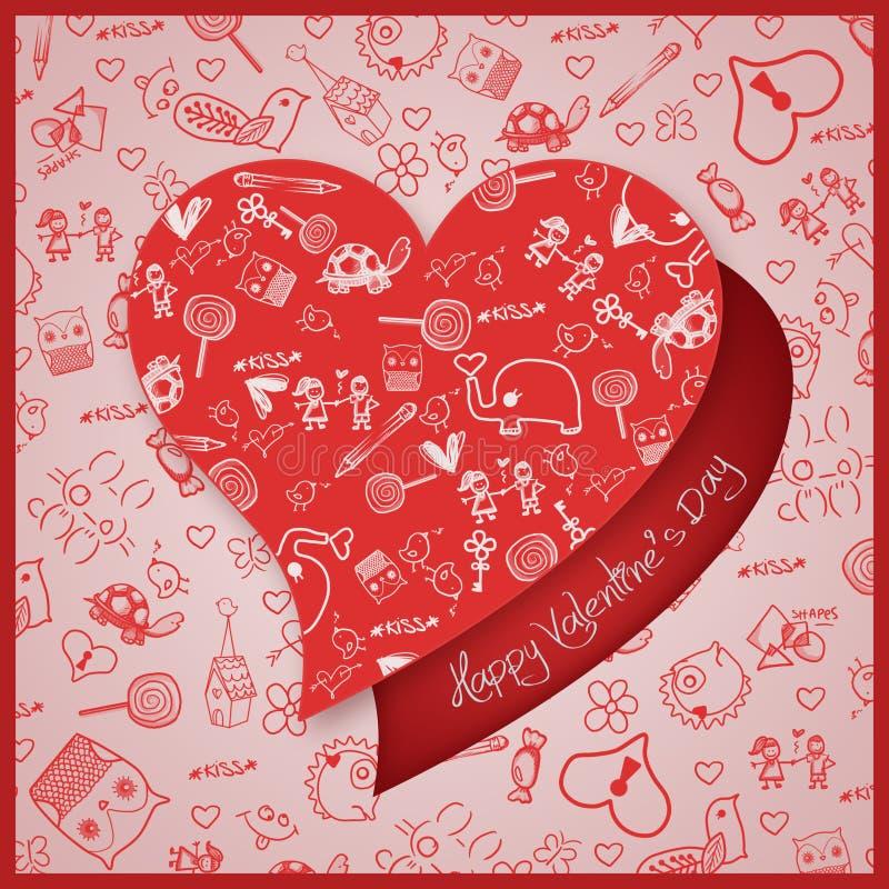 Walentynki ` s dnia miłość Doodles inkasowi - serca - ilustracji