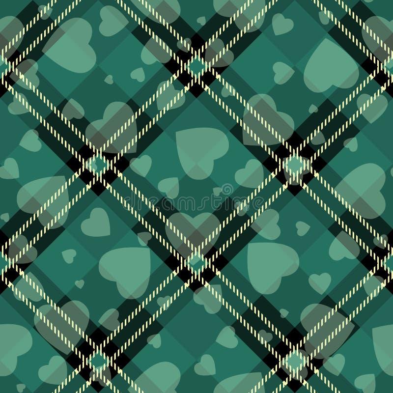 Walentynki s dnia modnisia stylu tartan i Bawoli czek szkockiej kraty wektor Deseniujemy czerń i zieleń z białymi sercami, wzór p ilustracja wektor