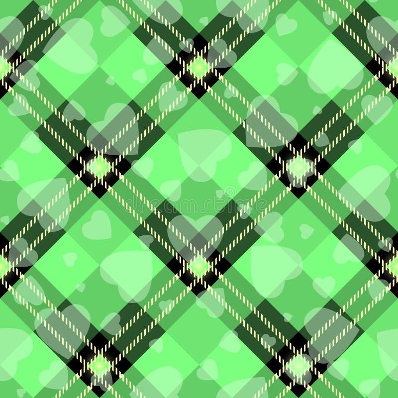 Walentynki s dnia modnisia stylu tartan i Bawoli czek szkockiej kraty wektor Deseniujemy czerń i zieleń z białymi sercami, wzór p ilustracji