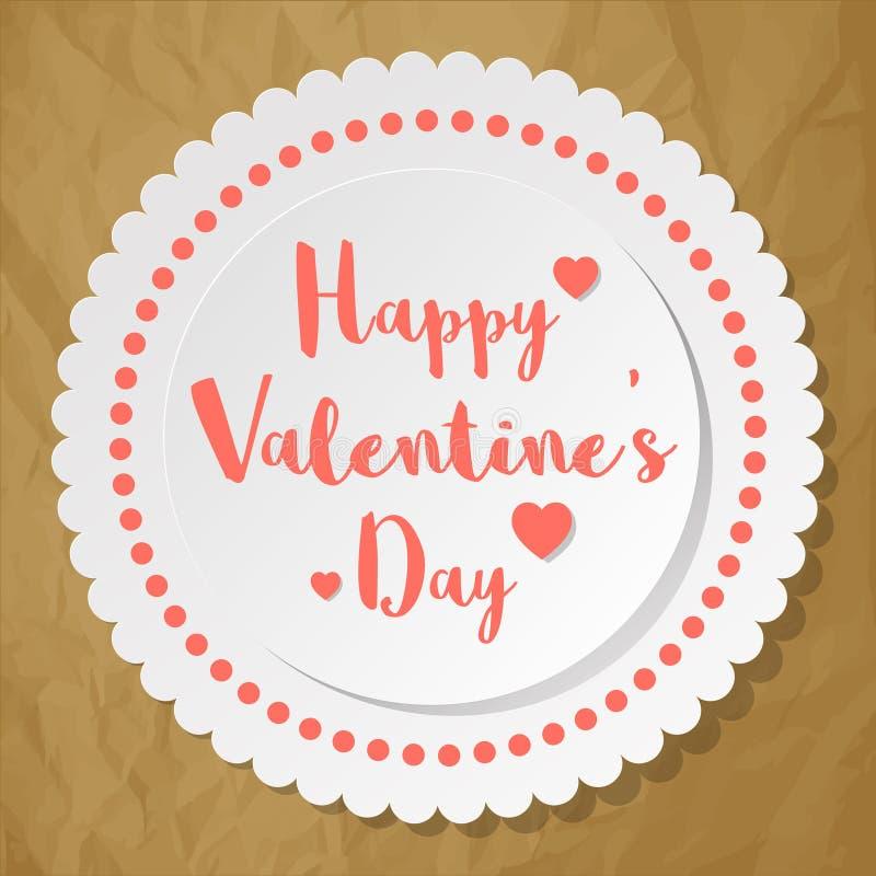 Walentynki ` s dnia okręgu Pocztówkowy biel na zmiętym papierowym brown tle ilustracji