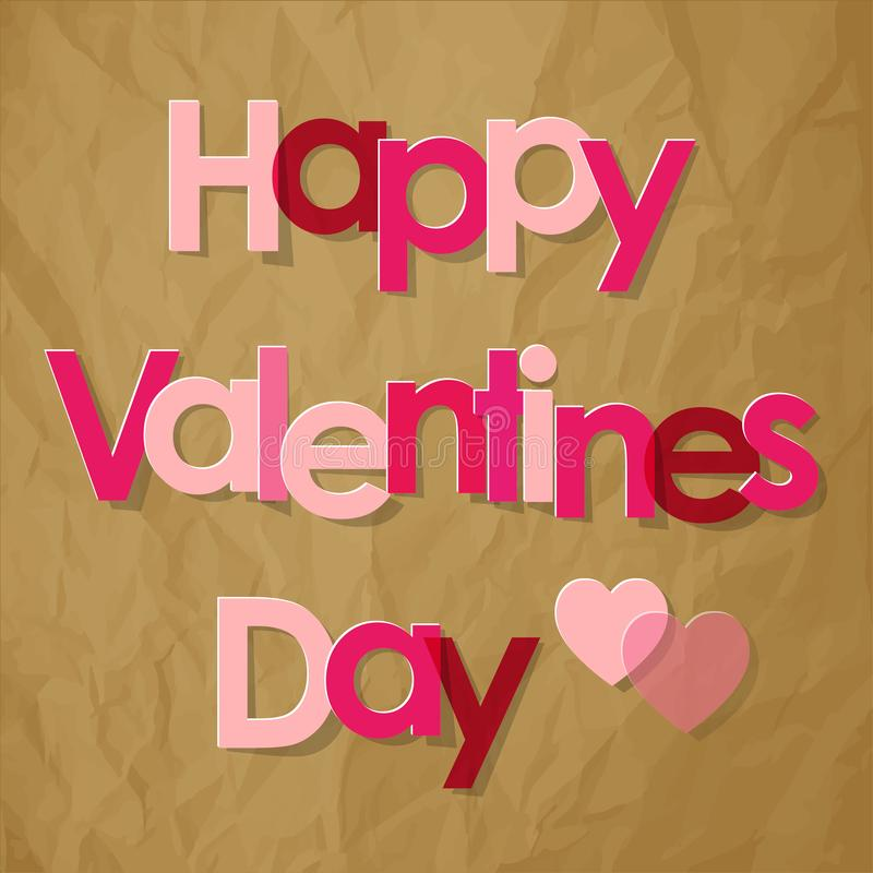 Walentynki ` s dnia pocztówki menchii listy z sercami na zmiętym papierowym brown tle ilustracja wektor