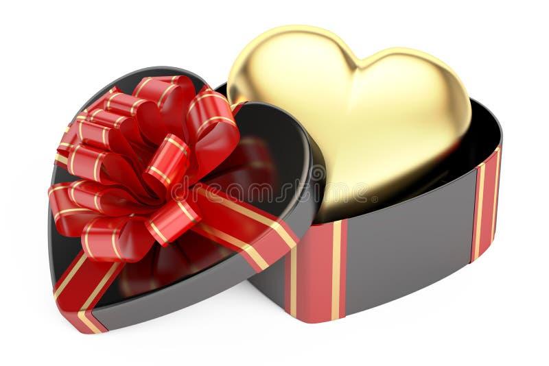 Walentynki ` s dnia pojęcie Czarny prezenta pudełko z złotym sercem, 3D ponowny royalty ilustracja