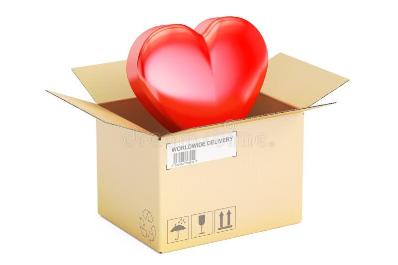 Walentynki ` s dnia pojęcie Karton z czerwonym sercem, 3D odpłaca się ilustracji