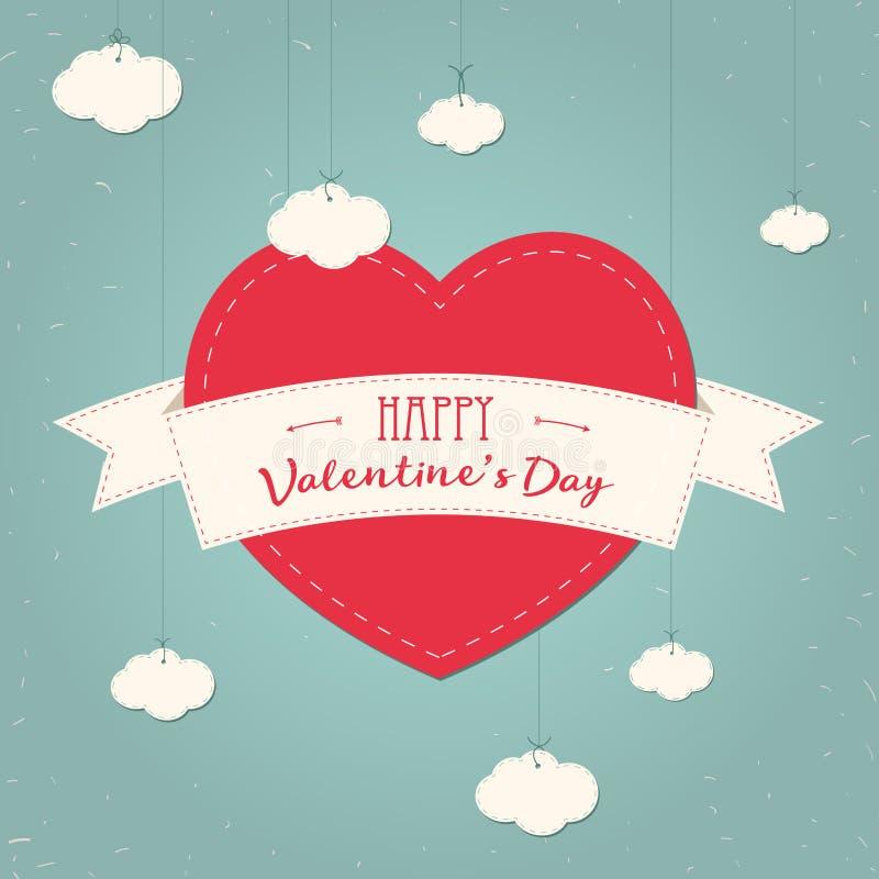 Walentynki s dnia rocznika karta z koronkowymi papierowymi sercami i miejsce dla teksta Chmury, faborek, serce Plakatowy projekt  royalty ilustracja