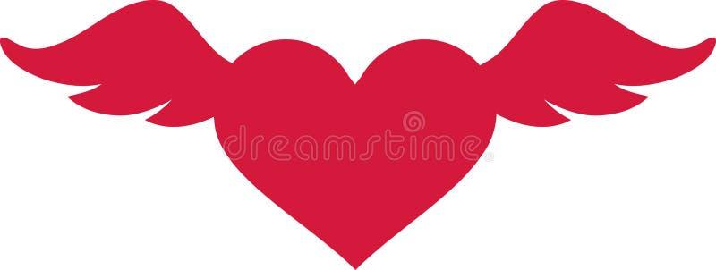 Walentynki ` s dnia serce z skrzydłami ilustracja wektor