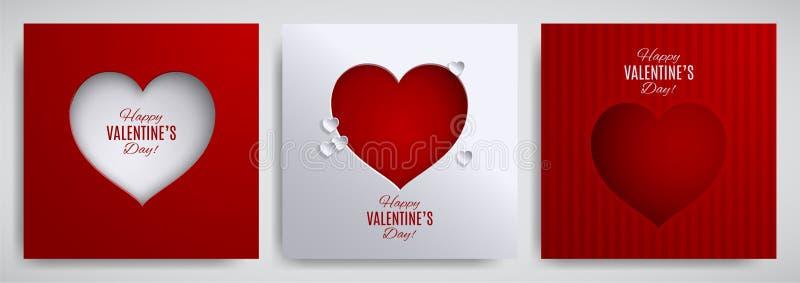 Walentynki ` s dnia set Kartka z pozdrowieniami, plakat, ulotka, sztandaru projekta kolekcja Cutted papieru serce na pasiastym at ilustracji