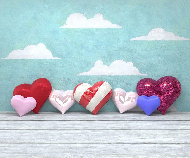 Walentynki ` s dnia siedem błyszczący serca na malującym nieba tle zdjęcie royalty free