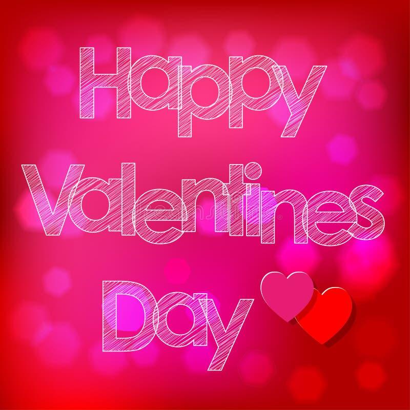 Walentynki ` s dnia skrobaniny pocztówkowi biali listy z sercami na różowym bokeh tle ilustracji