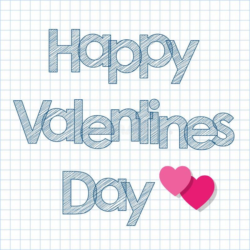 Walentynki ` s dnia skrobaniny pocztówkowi biali listy z sercami na w kratkę papierowym tle royalty ilustracja