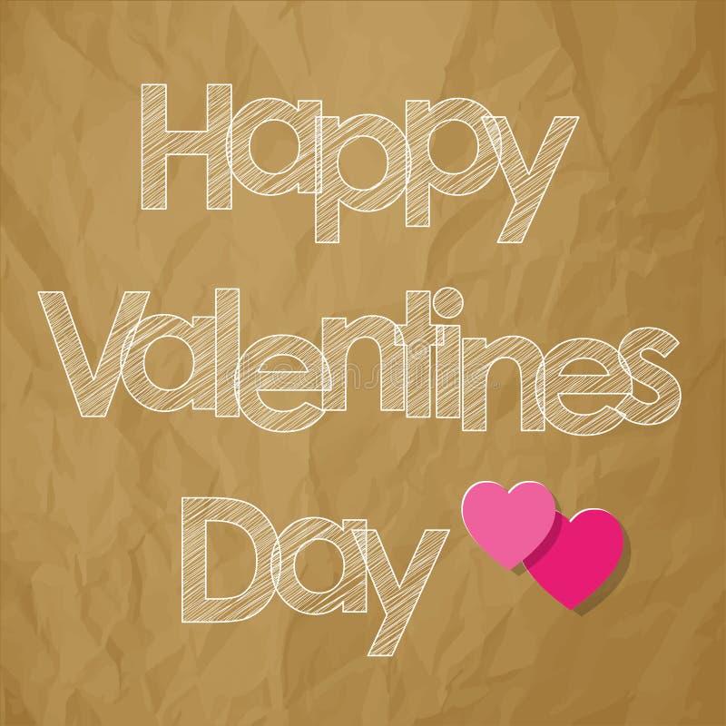 Walentynki ` s dnia skrobaniny pocztówkowi biali listy z sercami na zmiętym papierowym brown tle ilustracja wektor