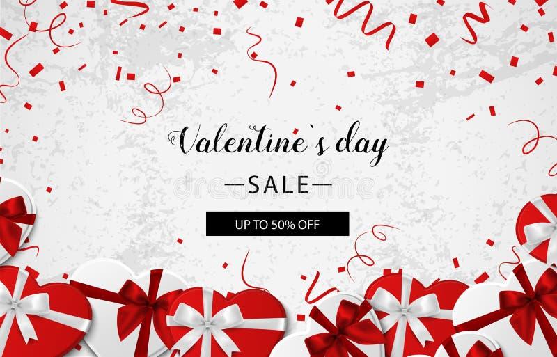 Walentynki s dnia sprzedaż Betonowy tło z prezentów confetti i pudełkiem wektor ilustracja wektor
