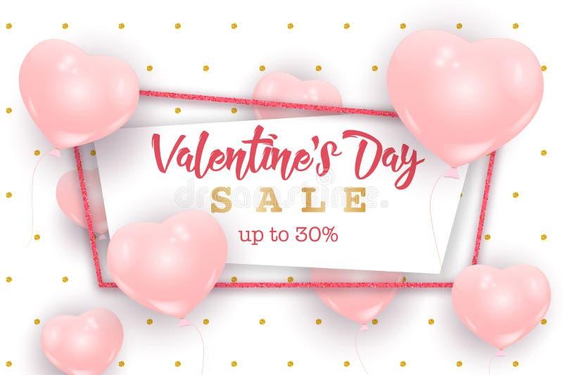Walentynki ` s dnia sprzedaży sieci sztandar, ulotki pojęcie ilustracja wektor