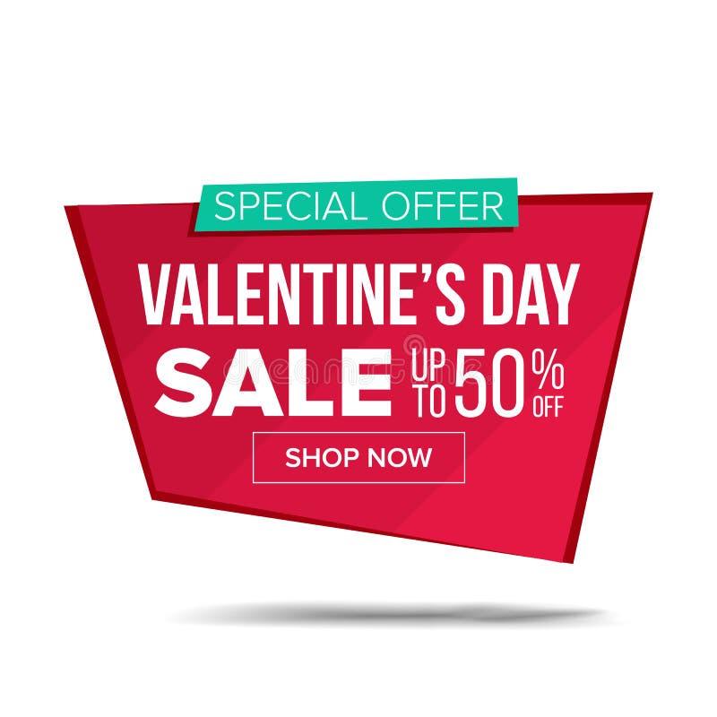 Walentynki s dnia sprzedaży sztandaru wektor Reklamowy miłość plakat Rabat I promocja Luty 14 etykietki I etykietki projekt royalty ilustracja