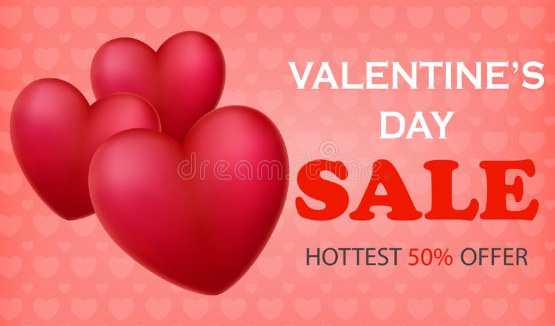 Walentynki ` s dnia sprzedaży sztandary z 3d sercowatymi balonami royalty ilustracja