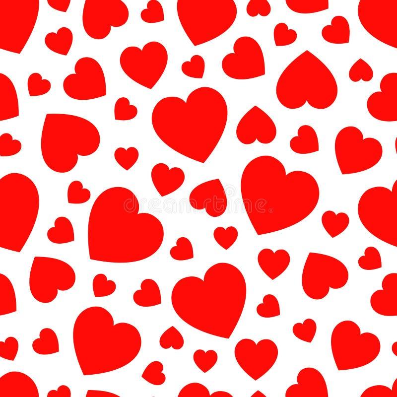 Walentynki ` s dnia tło Przypadkowych serce ikon wektorowy bezszwowy wzór Abstrakt częstotliwa tekstura Czerwoni serce symbole Do ilustracji