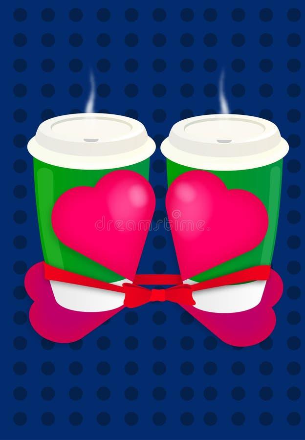 Walentynki ` s dnia zieleni Kawowy kubek z dużym czerwonym sercem jako prezent, błękitny tło z kropkami/ obraz stock