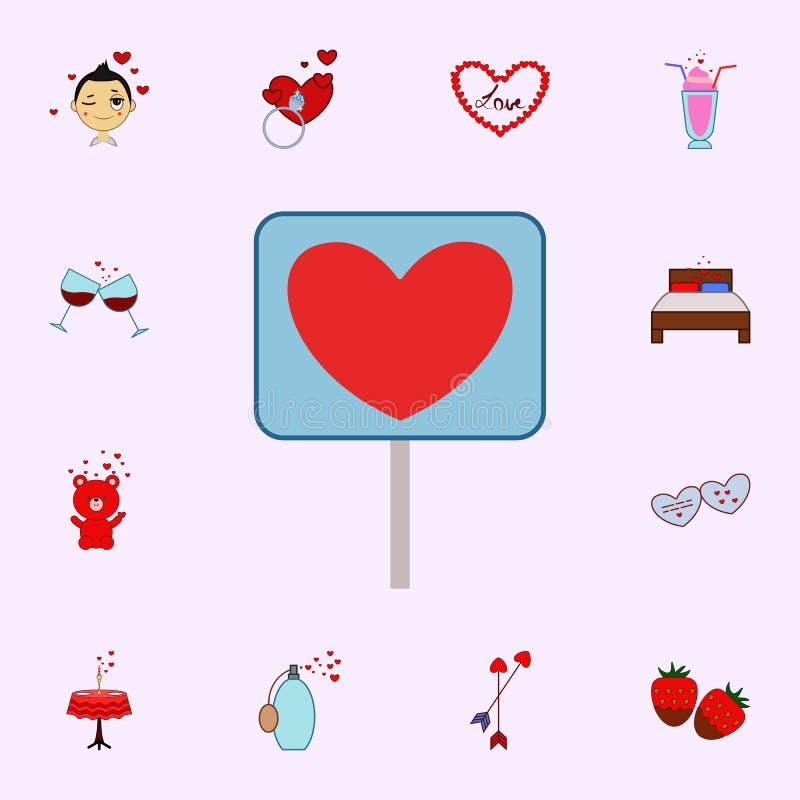 Walentynki s dzień, lizak, kierowa ikona Kocha ikony ogólnoludzkiego ustawiającego dla sieci i wiszącej ozdoby ilustracja wektor