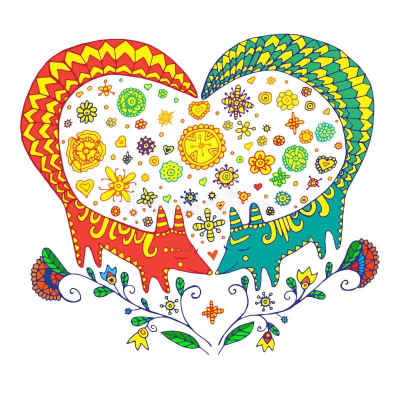 Walentynki s dzień Miłości śliczna karta Dwa kolor kreskówki lisa ilustracji