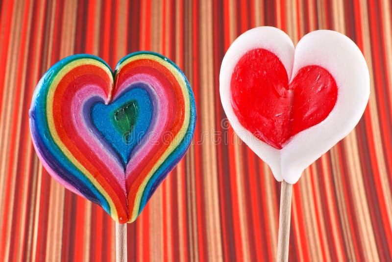 Walentynki ` s dzień, serce kształtował lizaki fotografia royalty free