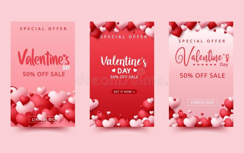 Walentynki's dzień sprzedaży w tle Kompozycja romantyczna z sercami Ilustracja wektorowa ilustracji
