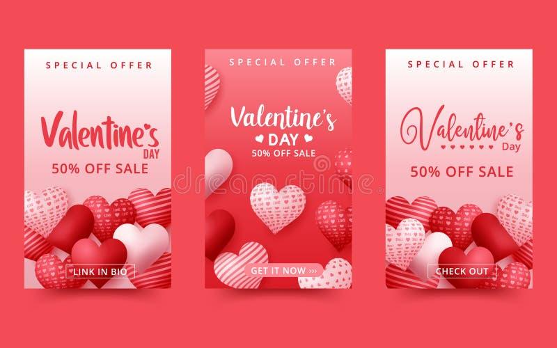 Walentynki's dzień sprzedaży w tle Kompozycja romantyczna z sercami Ilustracja wektorowa ilustracja wektor