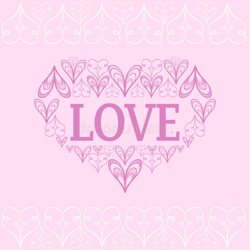 Walentynki s wektorowy tło z stylizowanymi sercami ilustracji