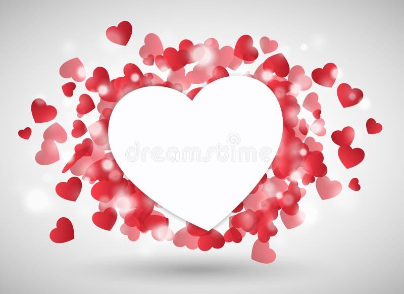 Walentynki serce jak papier przed czerwonymi małymi sercami ilustracji