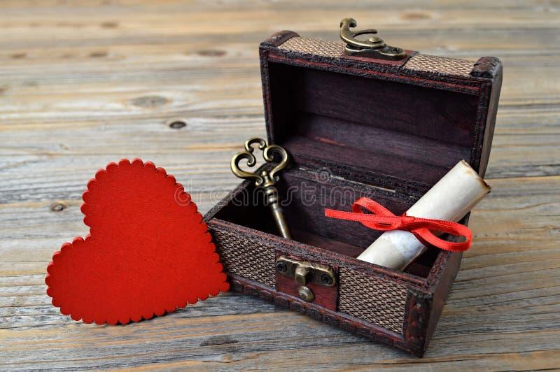 Walentynki serce, list miłosny i klucz w skarb klatce piersiowej, zdjęcia royalty free