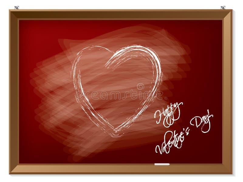 Walentynki serce rysujący na czerwonym chalkboard ilustracja wektor