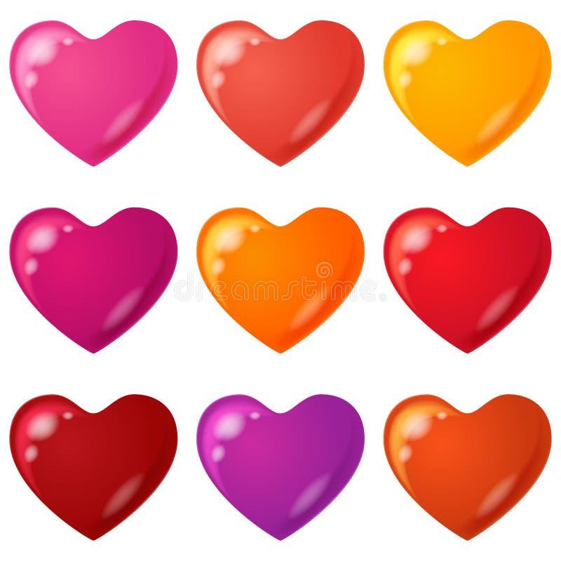 Download Walentynki serce, set ilustracja wektor. Ilustracja złożonej z jaskrawy - 28952013