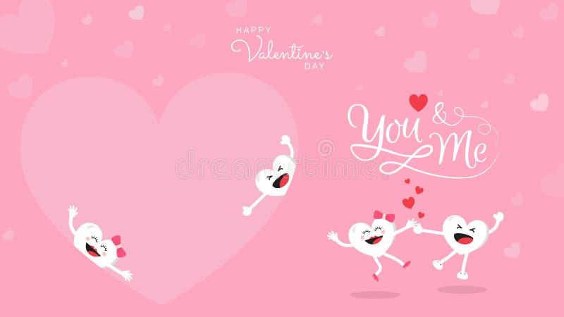 Walentynki tło z śliczną kierową kreskówką i kaligrafią Ty i Ja royalty ilustracja