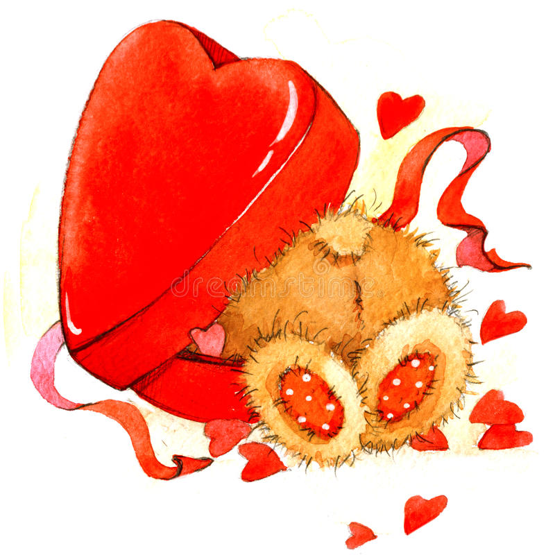 Download Walentynki Tło Z ślicznym Zabawki Niedźwiadkowym I Czerwonym Sercem Beak Dekoracyjnego Latającego Ilustracyjnego Wizerunek Swój P Ilustracji - Ilustracja złożonej z miłość, obdarzony: 53784108